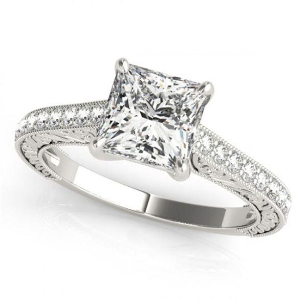 0.8 ctw Certified VS/SI Princess Diamond Ring 18k White Gold - REF-100A8N
