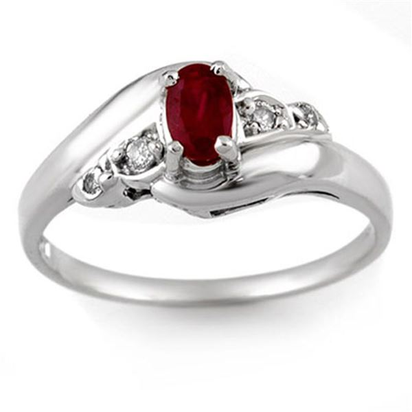 0.49 ctw Ruby & Diamond Ring Solid 14k White Gold - REF-17X2A