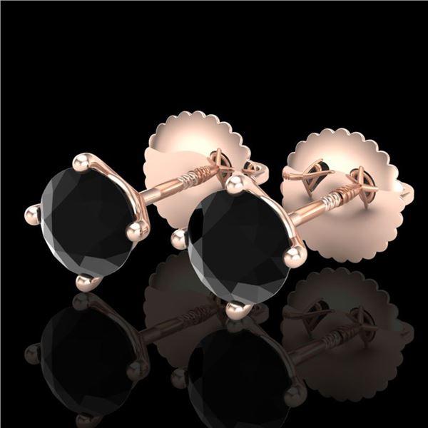 1.01 ctw Fancy Black Diamond Art Deco Stud Earrings 18k Rose Gold - REF-30W2H