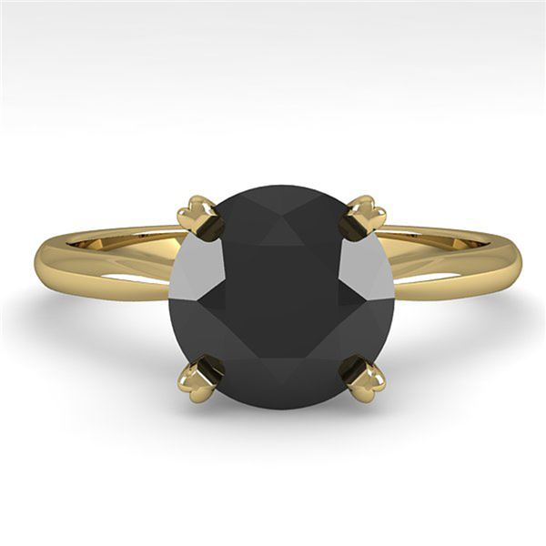 2.0 ctw Black Diamond Engagment Designer Ring 14k Yellow Gold - REF-51N5F