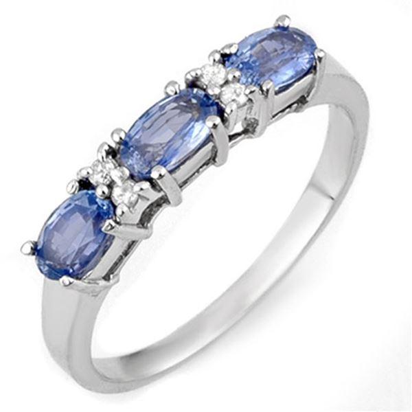1.33 ctw Blue Sapphire & Diamond Ring 18k White Gold - REF-30W3H
