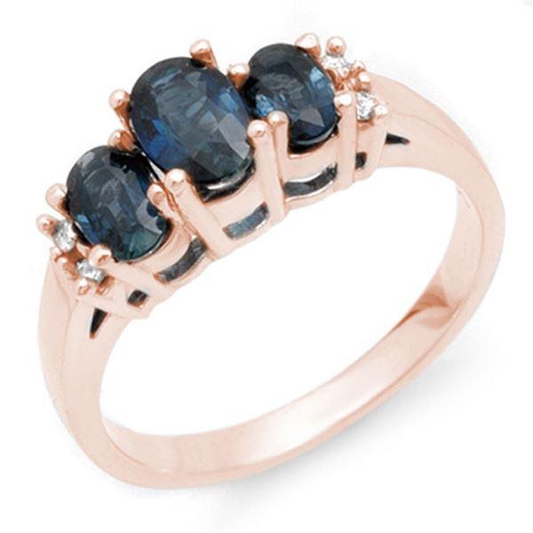 1.34 ctw Blue Sapphire & Diamond Ring 14k Rose Gold - REF-27Y3X