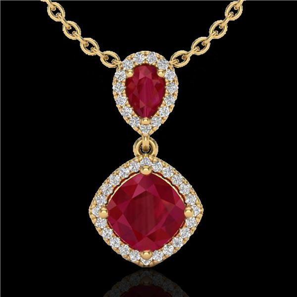 3.50 ctw Ruby & Micro Pave VS/SI Diamond Necklace 10k Yellow Gold - REF-55H2R