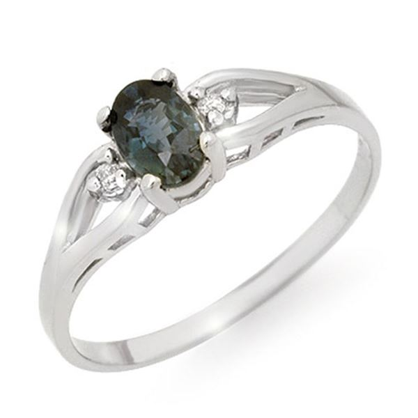 0.52 ctw Blue Sapphire & Diamond Ring 10k White Gold - REF-7M8G