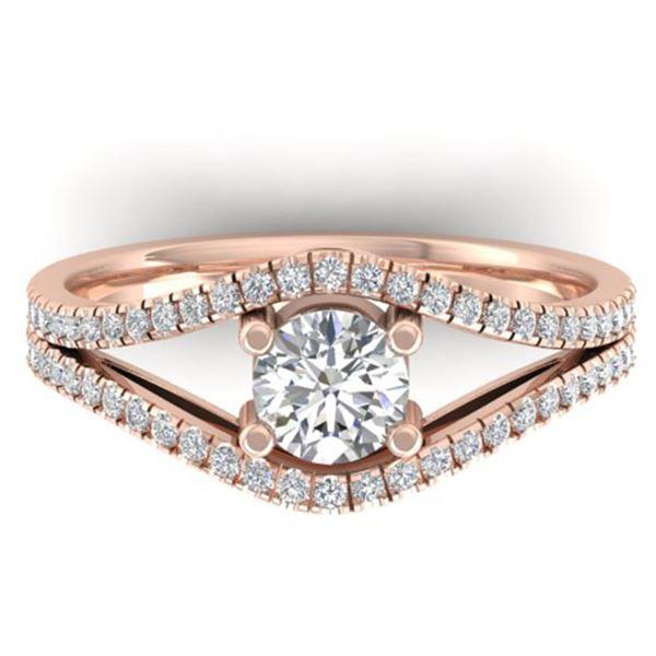 1.05 ctw Certified VS/SI Diamond Art Deco Ring 14k Rose Gold - REF-126H8R