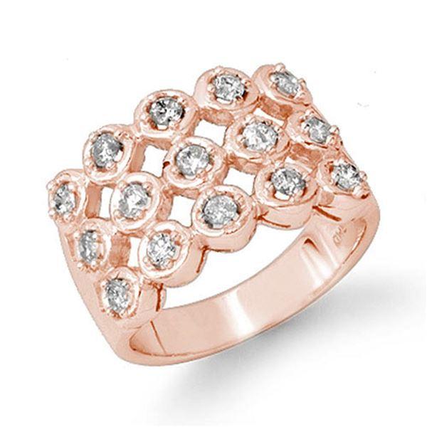 1.0 ctw Certified VS/SI Diamond Ring 14k Rose Gold - REF-99G3W
