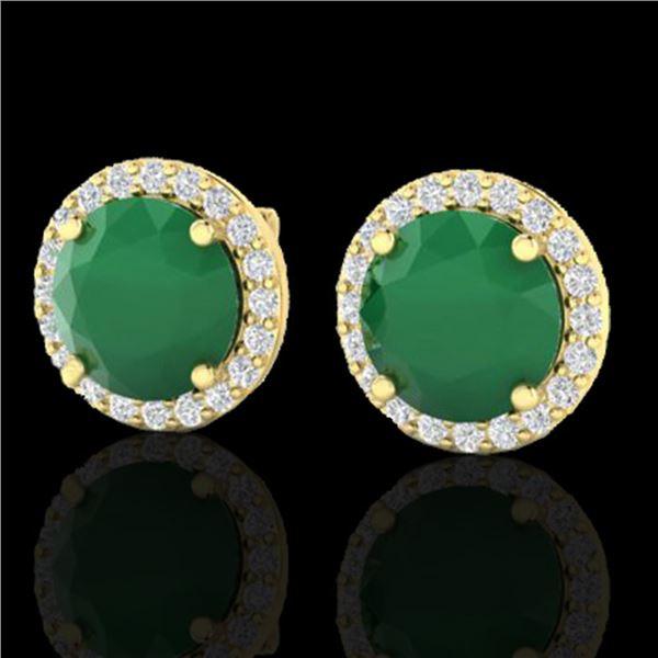 4 ctw Emerald & Halo VS/SI Diamond Micro Pave Earrings 18k Yellow Gold - REF-55N8F