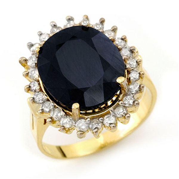 14.10 ctw Blue Sapphire & Diamond Ring 14k Yellow Gold - REF-150A9N