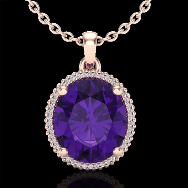 10 ctw Amethyst & Micro Pave VS/SI Diamond Necklace 14k Rose Gold - REF-51A2N
