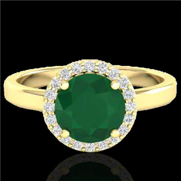 2 ctw Emerald & Halo VS/SI Diamond Micro Pave Ring 18k Yellow Gold - REF-45F3M