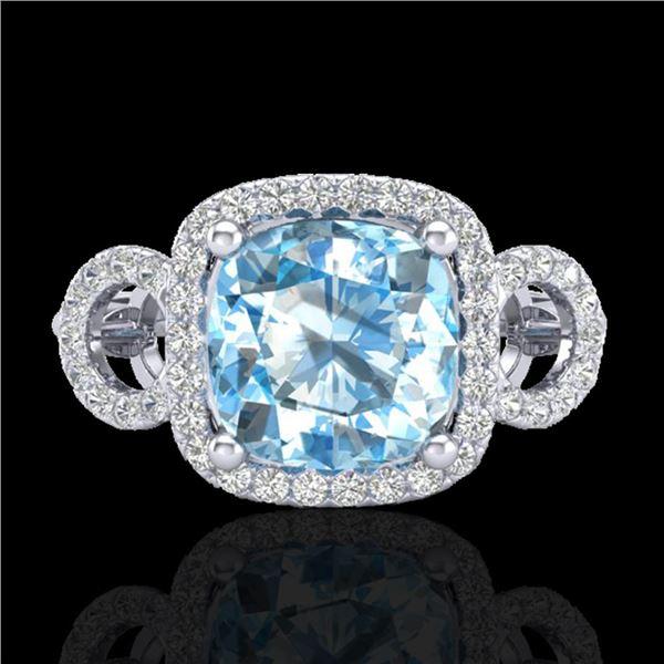 3.75 ctw TOPAZ & Micro VS/SI Diamond Certified Ring 18k White Gold - REF-50A4N