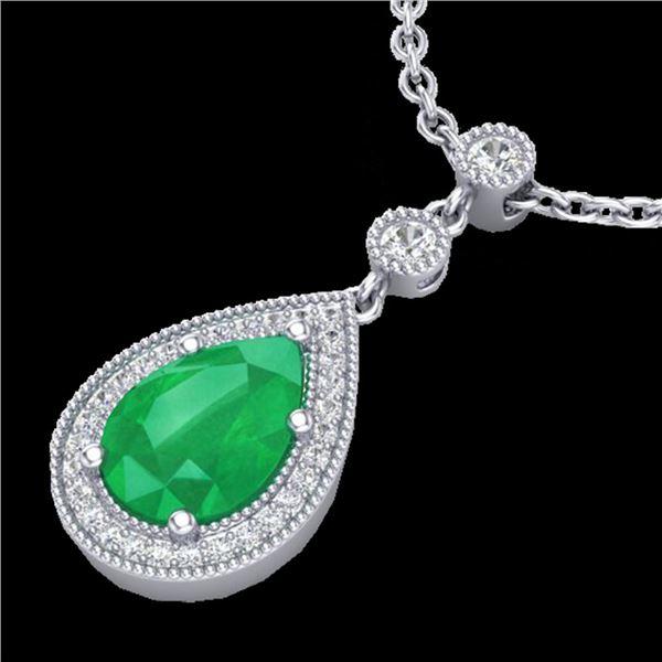 2.75 ctw Emerald & Micro Pave VS/SI Diamond Necklace 18k White Gold - REF-44Y4X