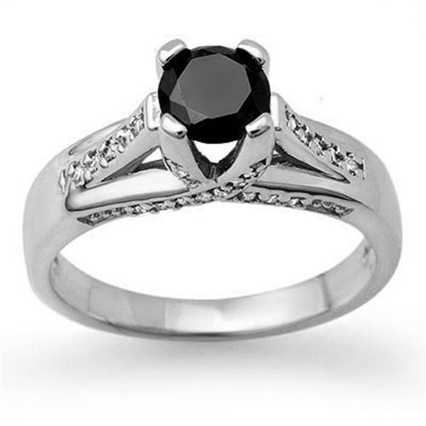 1.18 ctw VS Certified Black & White Diamond Ring 14k White Gold - REF-49X8A