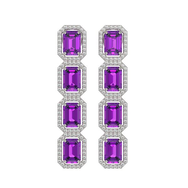 10.73 ctw Amethyst & Diamond Micro Pave Halo Earrings 10k White Gold - REF-147M3G