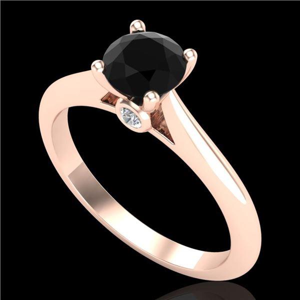 0.83 ctw Fancy Black Diamond Engagment Art Deco Ring 18k Rose Gold - REF-39A5N