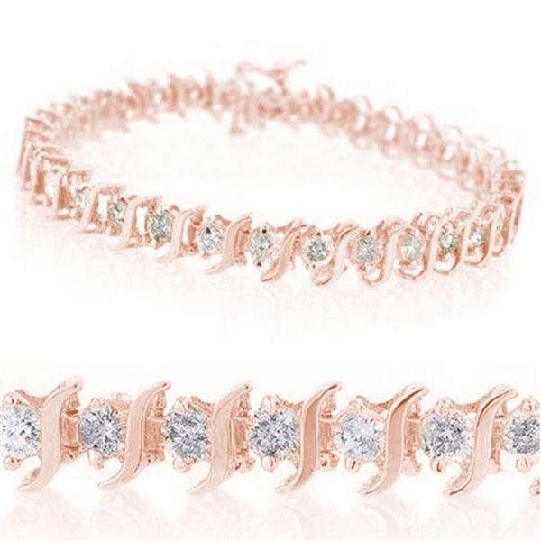 1.0 ctw Certified VS/SI Diamond Bracelet 10k Rose Gold - REF-65Y5X