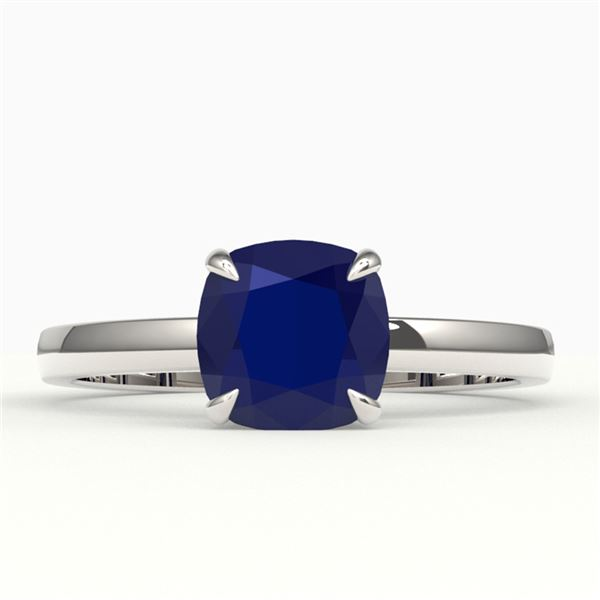 2 ctw Cushion Cut Sapphire Solitaire Engagment Ring 18k White Gold - REF-33F4M