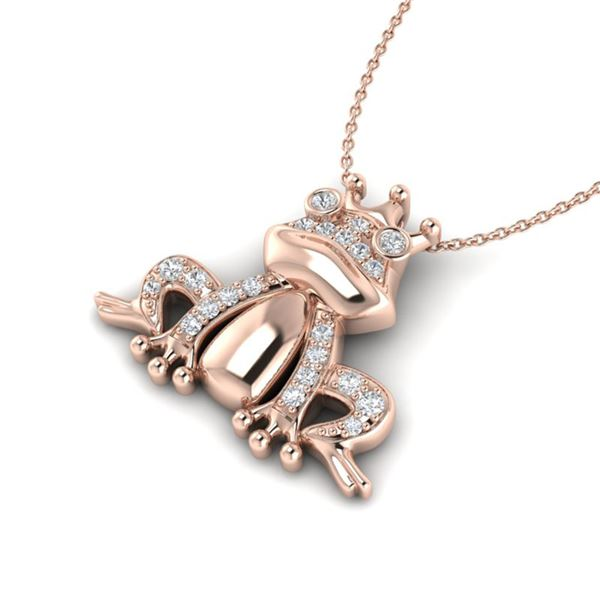 0.25 ctw Micro Pave VS/SI Diamond Frog Necklace 10k Rose Gold - REF-24F5M