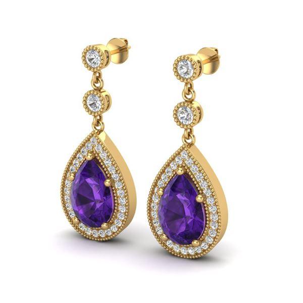 4.50 ctw Amethyst & Micro Pave VS/SI Diamond Earrings 18k Yellow Gold - REF-52F3M