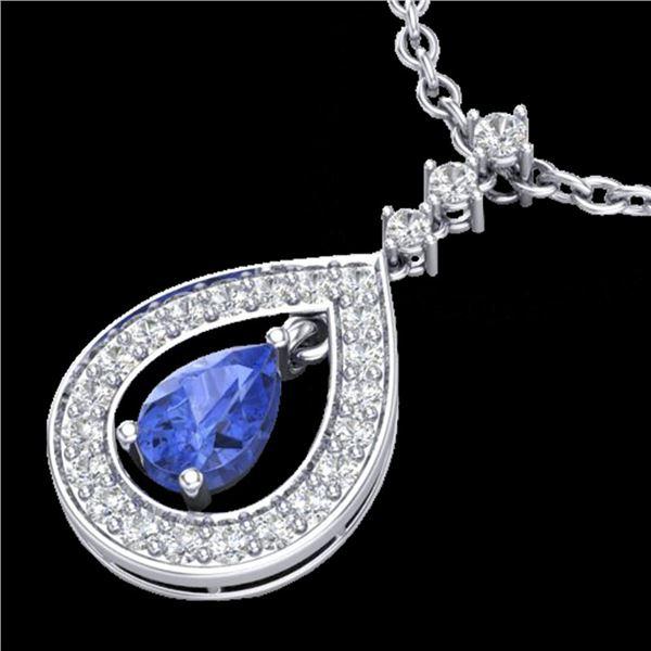 1.15 ctw Tanzanite & Micro Pave VS/SI Diamond Necklace 14k White Gold - REF-49M3G