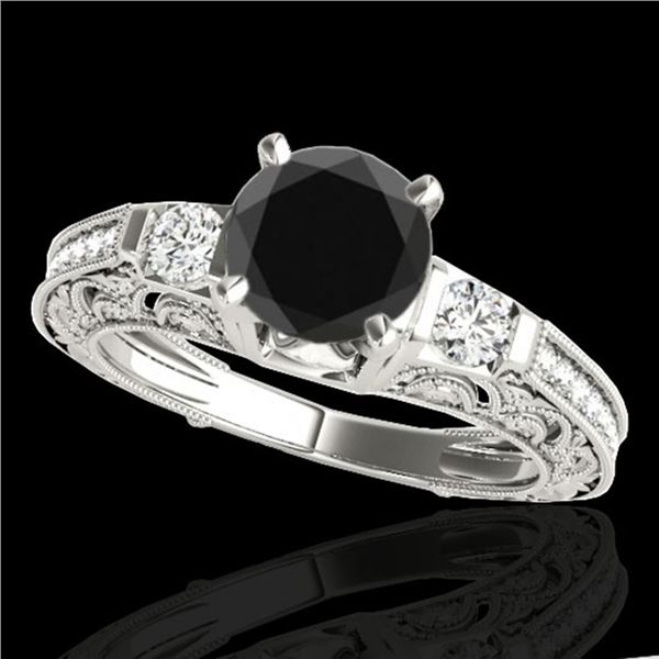 1.38 ctw Certified VS Black Diamond Solitaire Antique Ring 10k White Gold - REF-47X8A
