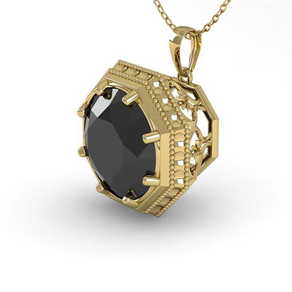 1.50 ctw Black Diamond Necklace Art Deco 14k Yellow Gold - REF-38N9F