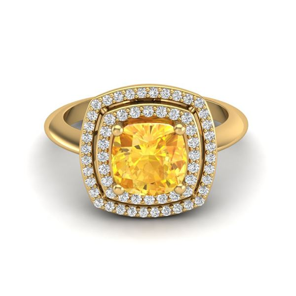 1.77 ctw Citrine & Micro VS/SI Diamond Pave Ring 18k Yellow Gold - REF-49G3W