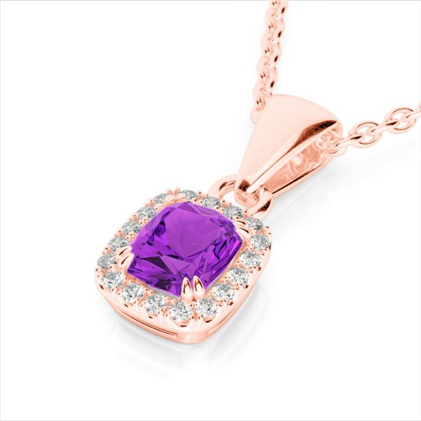 1.25 ctw Amethyst & Micro Pave VS/SI Diamond Necklace 10k Rose Gold - REF-21M5G