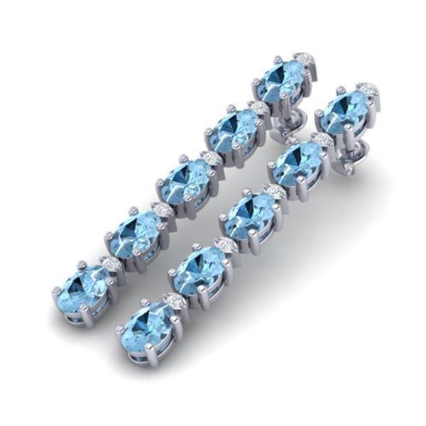 12.47 ctw Aquamarine & VS/SI Certified Diamond Earrings 10k White Gold - REF-143X6A