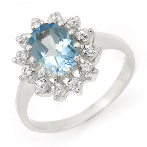 1.51 ctw Blue Topaz & Diamond Ring 10k White Gold - REF-23K9Y