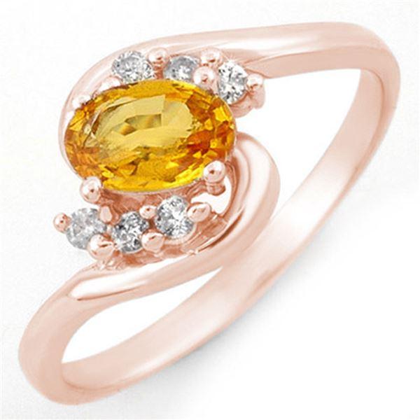0.70 ctw Yellow Sapphire & Diamond Ring 14k Rose Gold - REF-18R5K