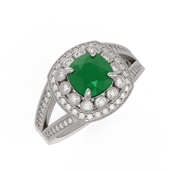 2.69 ctw Certified Emerald & Diamond Victorian Ring 14K White Gold - REF-104A9N