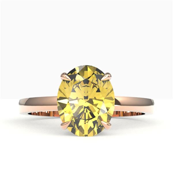 2.50 ctw Citrine Designer Solitaire Ring 14k Rose Gold - REF-18Y4X