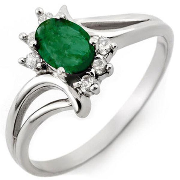 0.50 ctw Emerald & Diamond Ring 10k White Gold - REF-12X8A