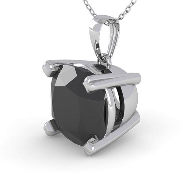 3 ctw Cushion Black Diamond Designer Necklace 18k White Gold - REF-84A2N