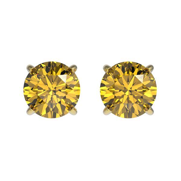 1.08 ctw Certified Intense Yellow Diamond Stud Earrings 10k Yellow Gold - REF-95Y3X