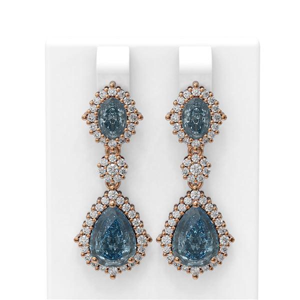 8.54 ctw Blue Topaz & Diamond Earrings 18K Rose Gold - REF-174R5K
