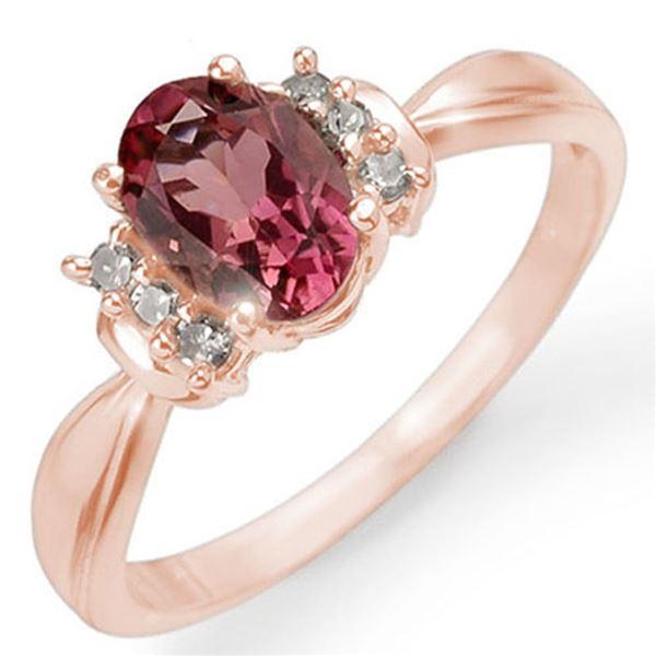 1.06 ctw Pink Tourmaline & Diamond Ring 14k Rose Gold - REF-20M5G