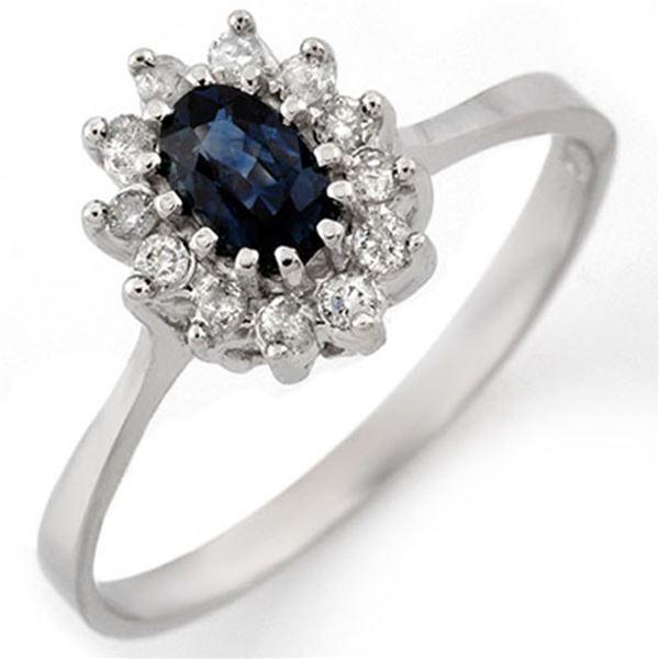 0.60 ctw Blue Sapphire & Diamond Ring 18k White Gold - REF-25W4H