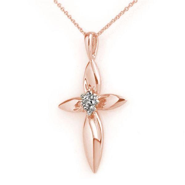 0.02 ctw Certified VS/SI Diamond Pendant 14k Rose Gold - REF-12W2H