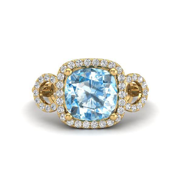3.75 ctw TOPAZ & Micro VS/SI Diamond Certified Ring 18k Yellow Gold - REF-50F4M