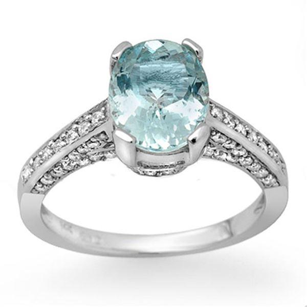 2.30 ctw Aquamarine & Diamond Ring 14k White Gold - REF-78G2W