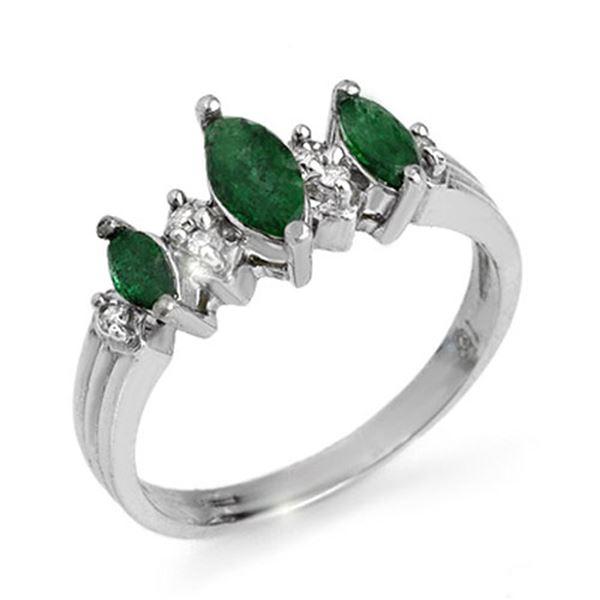 1.0 ctw Emerald & Diamond Ring 18k White Gold - REF-30R2K