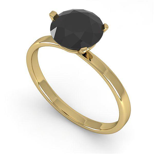 1.50 ctw Black Certified Diamond Engagment Ring Martini 18k Yellow Gold - REF-48R9K