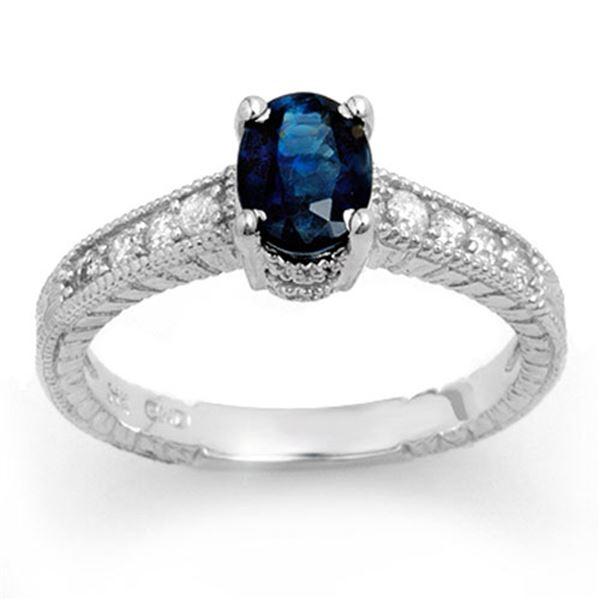 1.63 ctw Blue Sapphire & Diamond Ring 14k White Gold - REF-38R2K