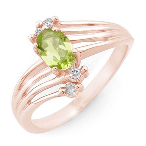 0.55 ctw Peridot & Diamond Ring 10k Rose Gold - REF-17N8F