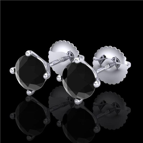 1.5 ctw Fancy Black Diamond Art Deco Stud Earrings 18k White Gold - REF-33R8K