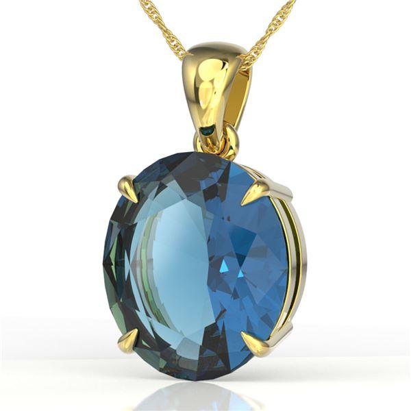 9 ctw London Blue Topaz Designer Solitaire Necklace 18k Yellow Gold - REF-38F8M