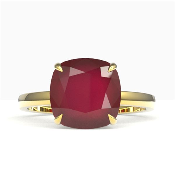 6 ctw Ruby Designer Solitaire Engagment RNG 18k Yellow Gold - REF-49F3M