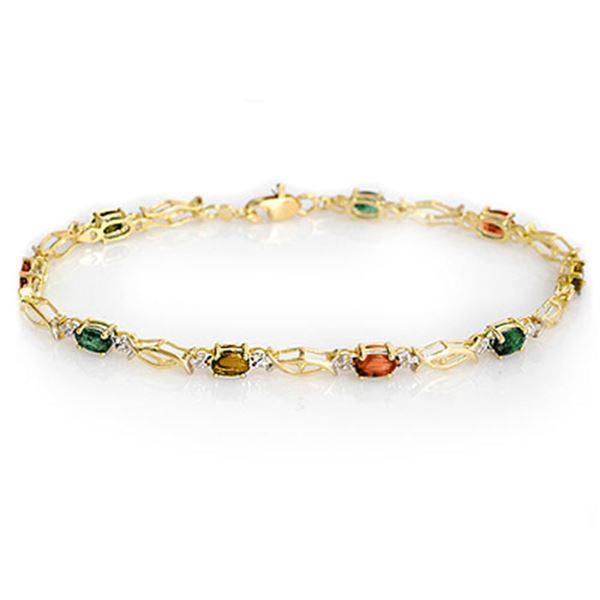 3.0 ctw Multi-color Sapphire Bracelet 10k Yellow Gold - REF-23F2M